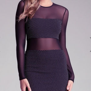 BEBE Black STUD EMBELLISHED mesh dress L